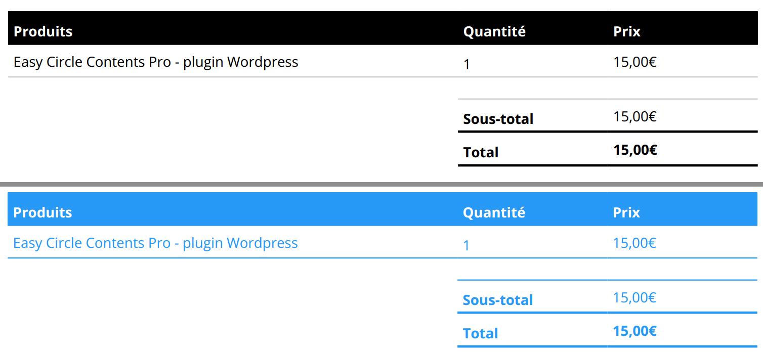 Woocommerce changer les couleurs des factures PDF